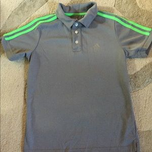 Adidas polo style shirt gray with green stripes.